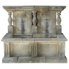 Italian Wall Fountain 3 Columns Handcrafted Limestone, Late 20th Century, Italy