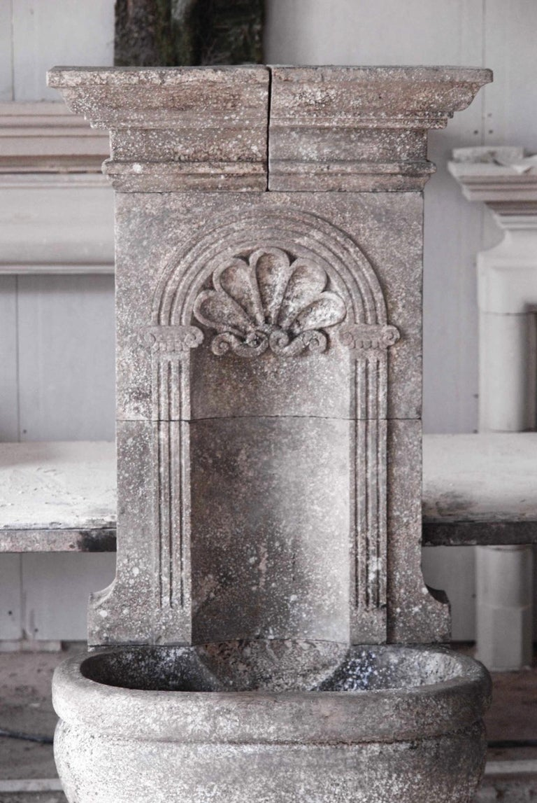 Hand-Carved Italian Wall Fountain Handcrafted Limestone, 21st Century For Sale