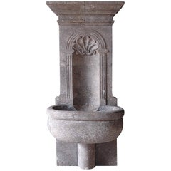 Italian Wall Fountain Handcrafted Limestone, 21st Century