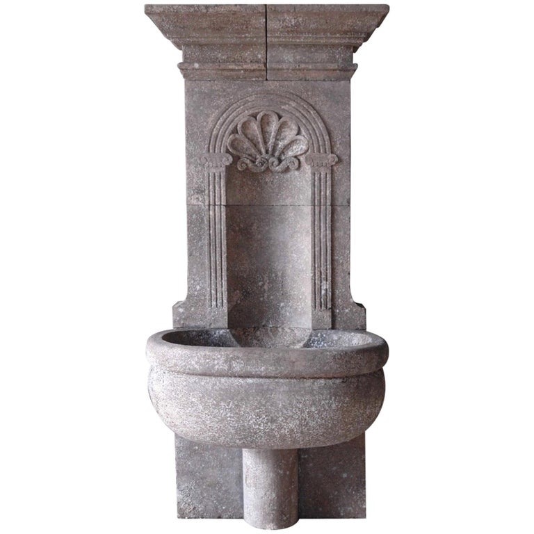 Italian Wall Fountain Handcrafted Limestone, 21st Century For Sale