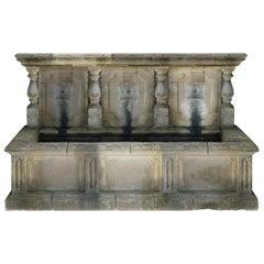 Italian Wall Fountain Handcrafted Limestone, Late 20th Century, Italy