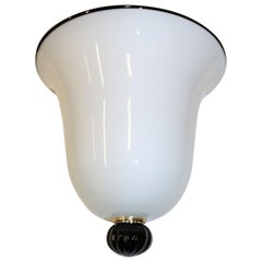 Italian Wall Light Milky White Murano Hand Blown Glass with Black Details