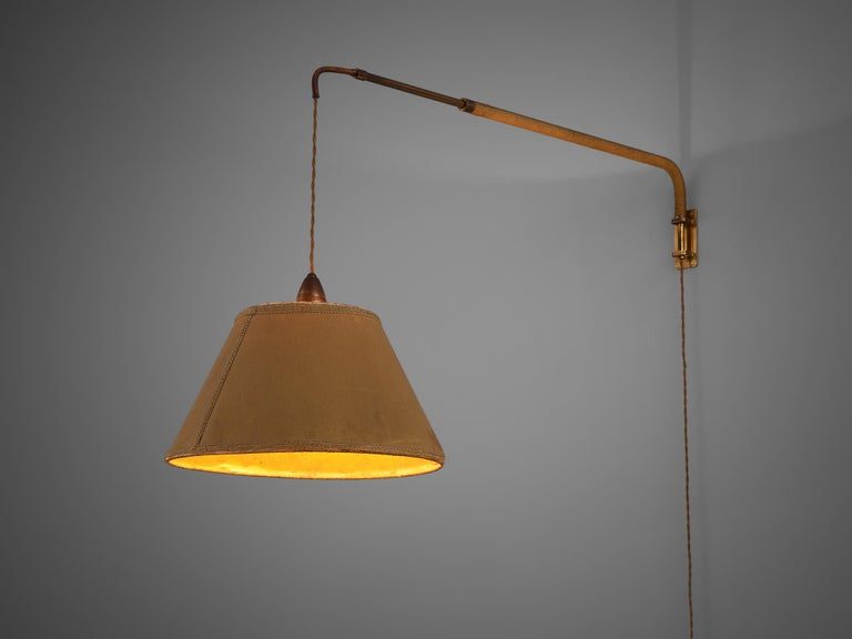 Wall light, brass, brass and rope, Italy, 1960s. 