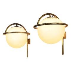 Italian Wall Lights in Brass and Opaline Glass