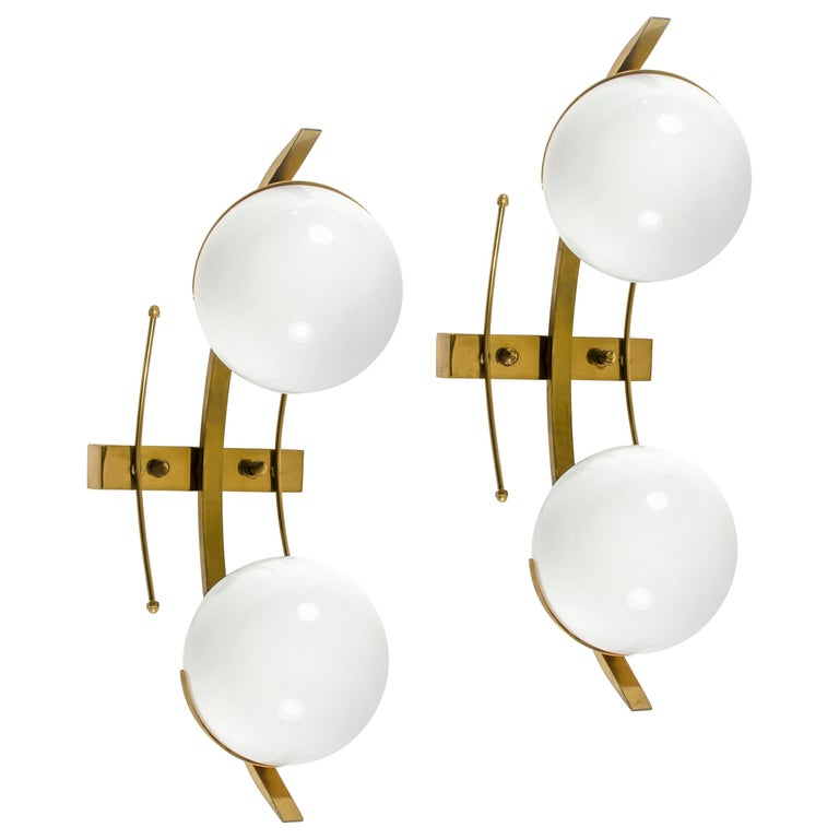 Italian Wall Lights or Sconces Attributed to Stilnovo For Sale