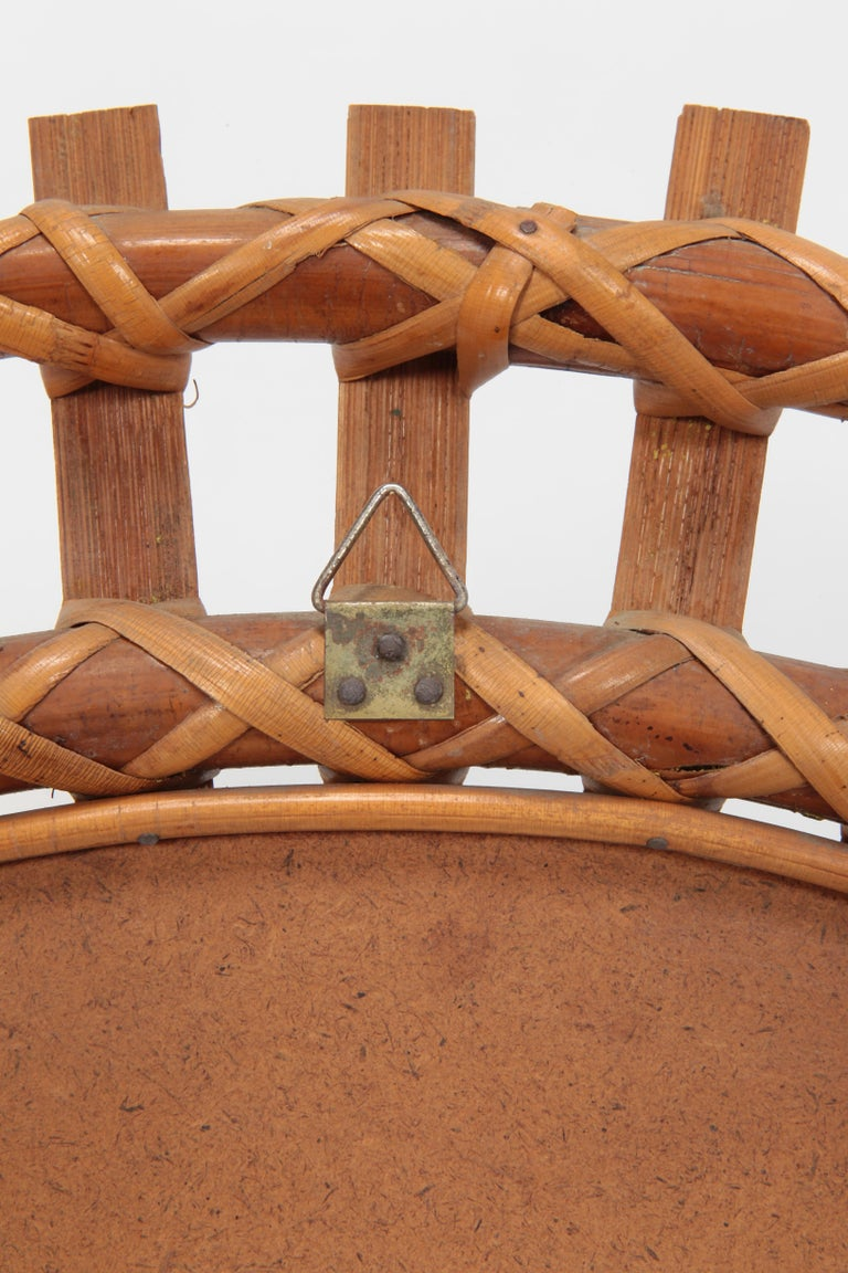 Italian Wall Mirror Bamboo, 1950s For Sale 5