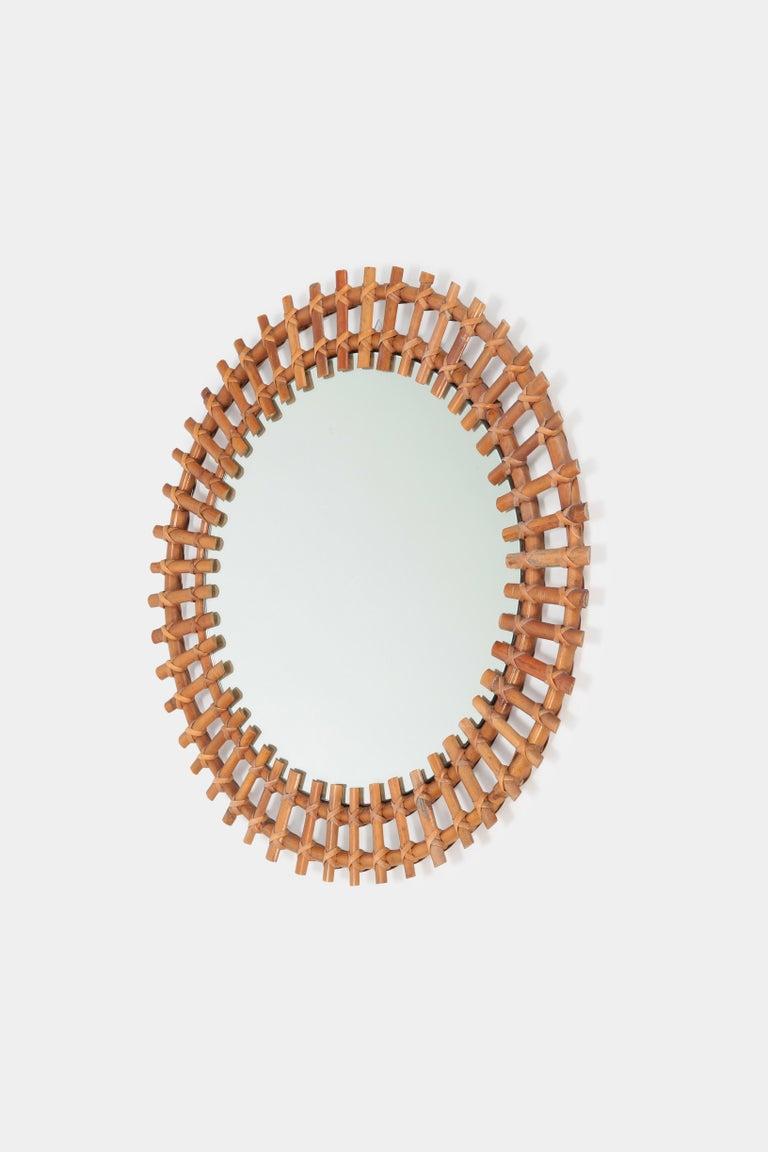 Mid-Century Modern Italian Wall Mirror Bamboo, 1950s For Sale
