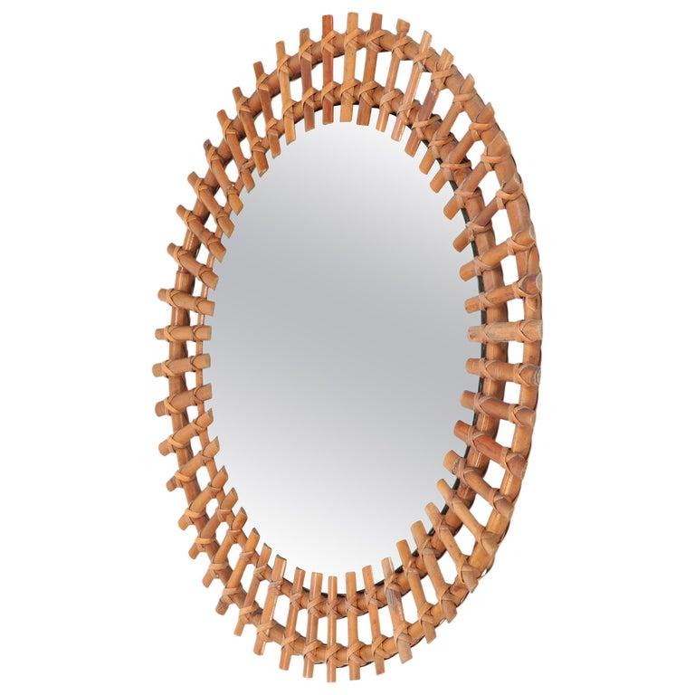 Italian Wall Mirror Bamboo, 1950s For Sale