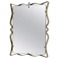 Italian Wall Mirror by Fontana Arte in Frame Brass and Glass, 1950