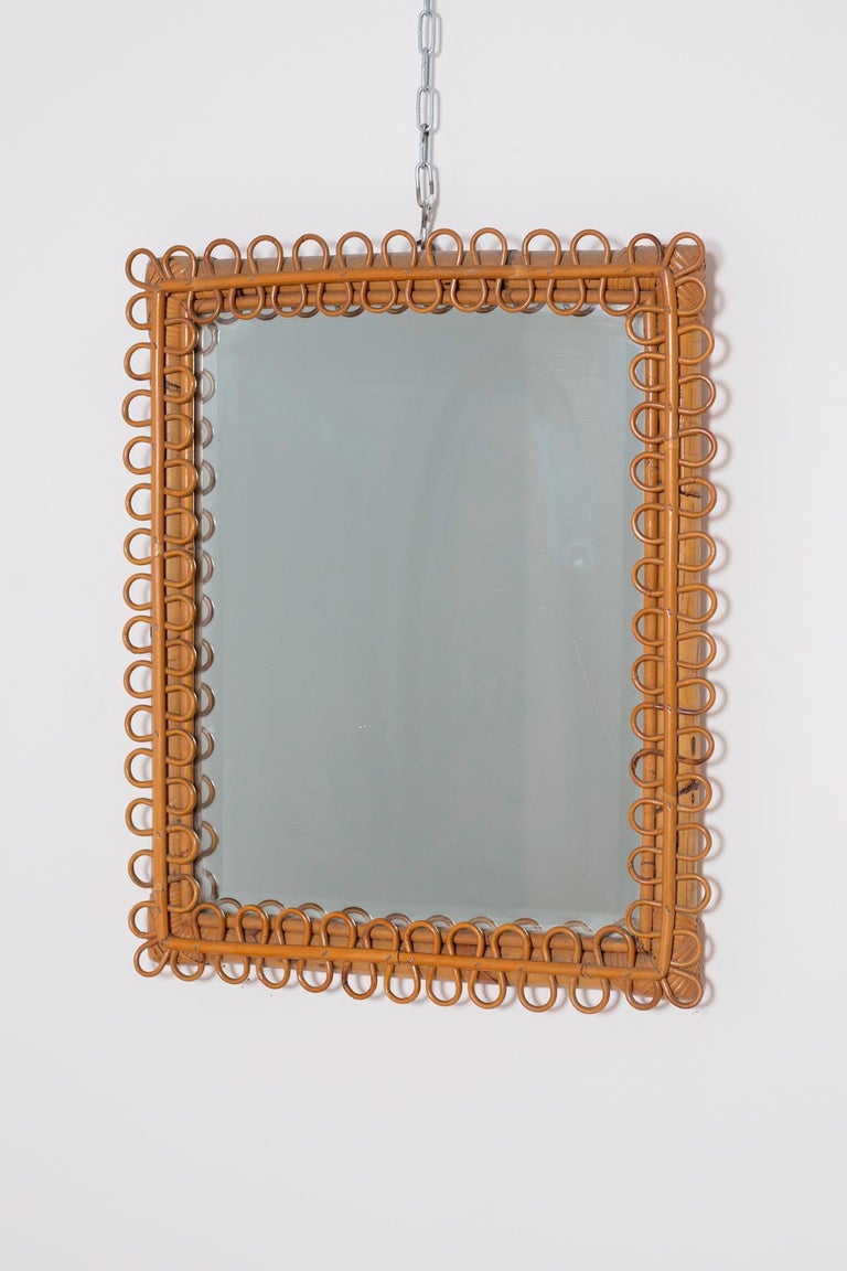 Mid-20th Century Italian Wall Mirror in Brown Bamboo, 1950s For Sale