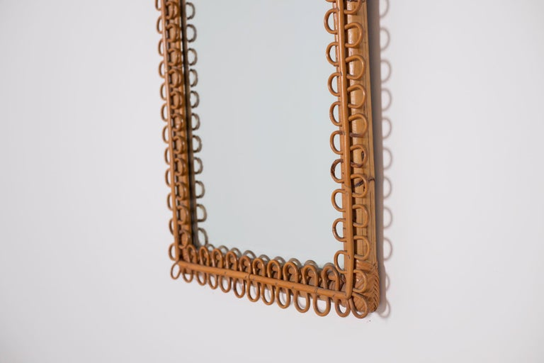 Italian Wall Mirror in Brown Bamboo, 1950s For Sale 3