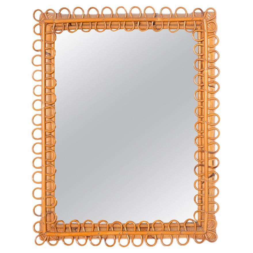 Italian Wall Mirror in Brown Bamboo, 1950s