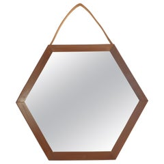 Italian Wall Mirror in Teak, 1950s