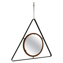 Italian, Wall Mirror, Lacquered Metal, Wood, Mirror Glass, Italy, 1950s