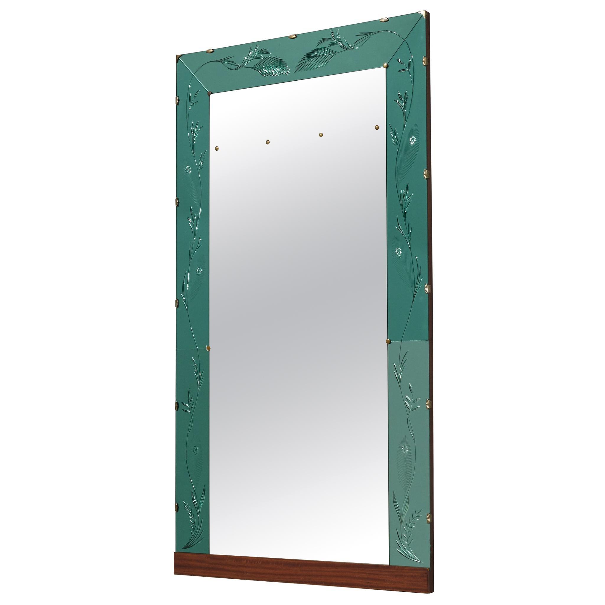 Italian Wall Mirror with Green Ledge, 1950s