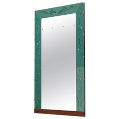 Italian Wall Mirror with Green Ledge, 1950s