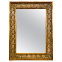 Italian Wall or Vanity Mirror with Antiqued Giltwood and Hand Painted Frame