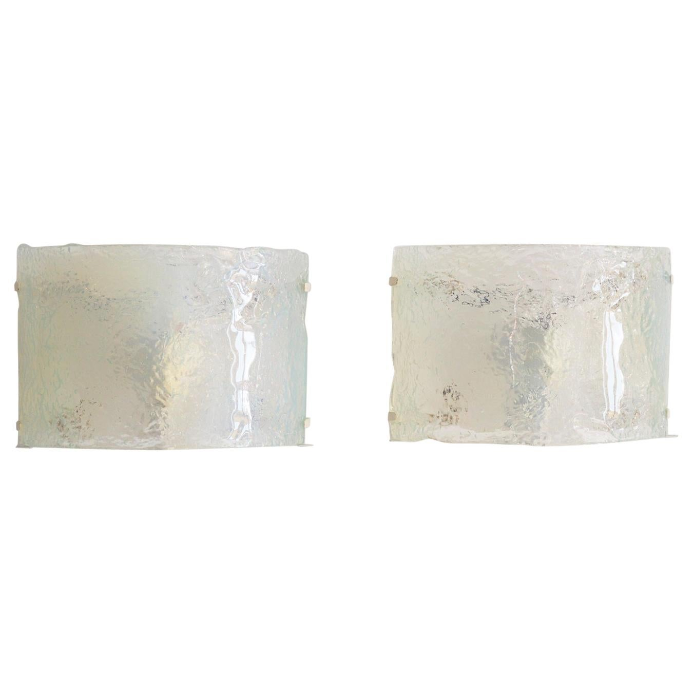 Italian Midcentury Wall Sconces in Opalescent Murano Glass from the 1970s