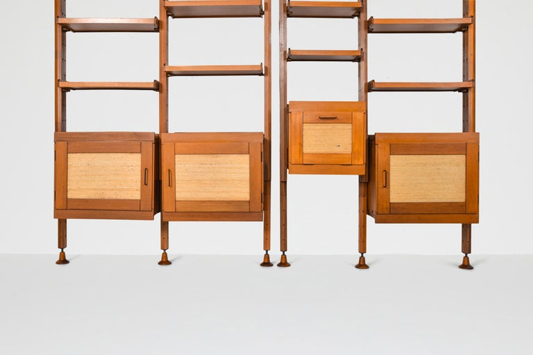Mid-Century Modern shelves, brass, beech, teak, ISA Bergamo, Italy, 1960, Leonardo Fiori  Would fit well in a zen contemporary rustic modern interior, inspired by Wabi Sabi , Axel Vervoordt.  This wall-mounted shelving unit with adjustable