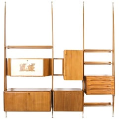 Italian Wall Unit in Beech Style of Gio Ponti