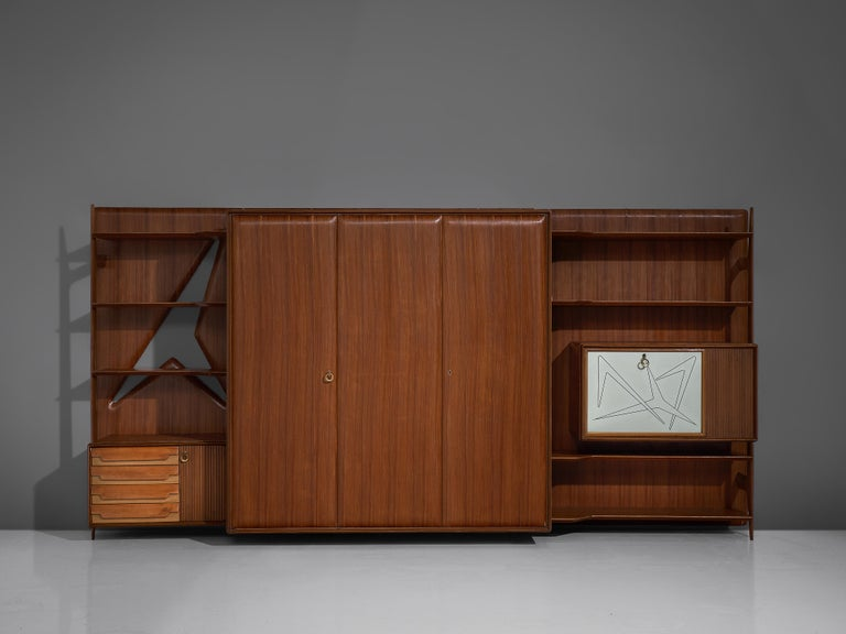 Italian Wall Unit in Mahogany In Good Condition For Sale In Waalwijk, NL