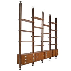 Italian Wall Unit in Walnut with Metal Details