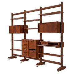 Italian Wall Unit with Cabinets in Teak