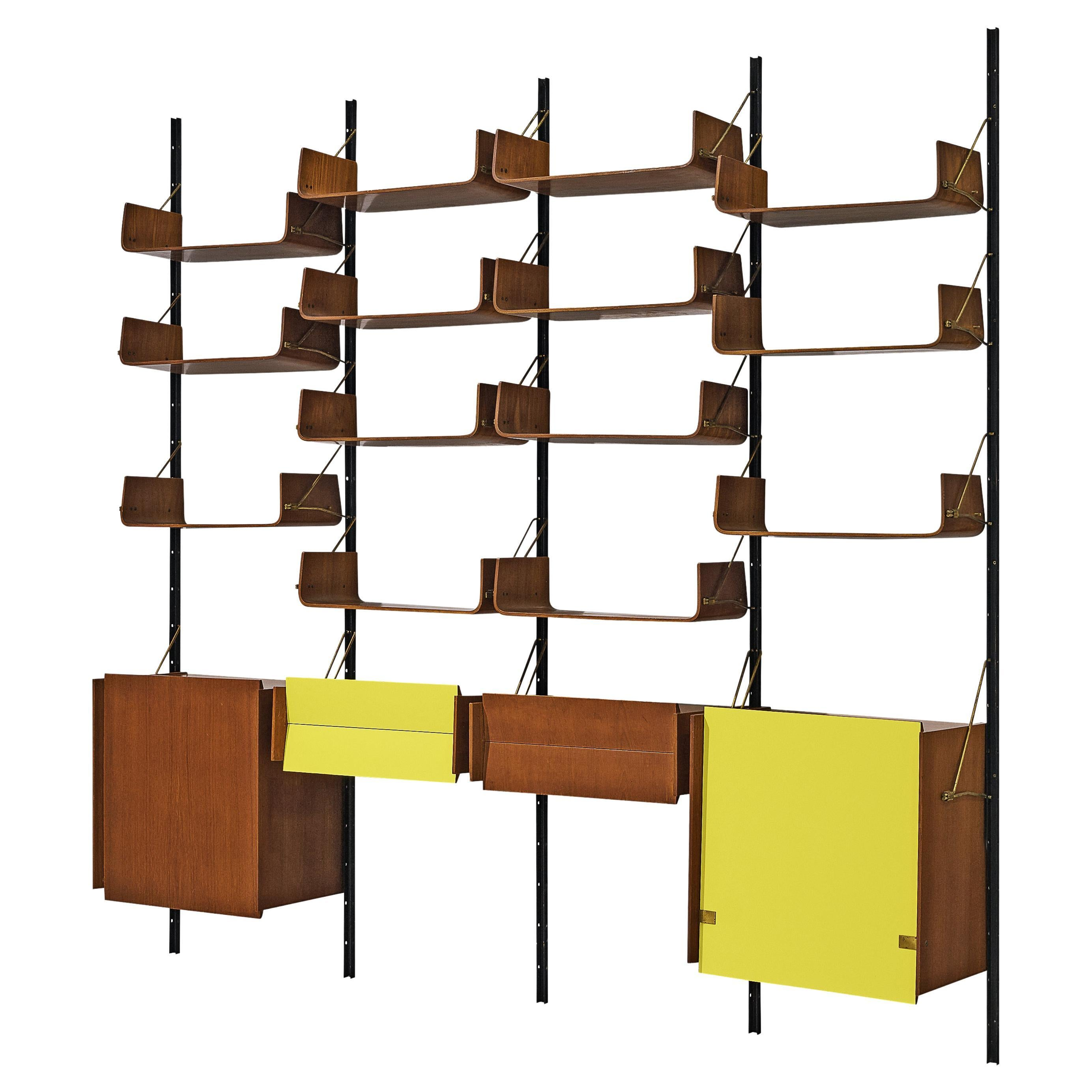 Italian Wall Unit with Cabinets in Walnut