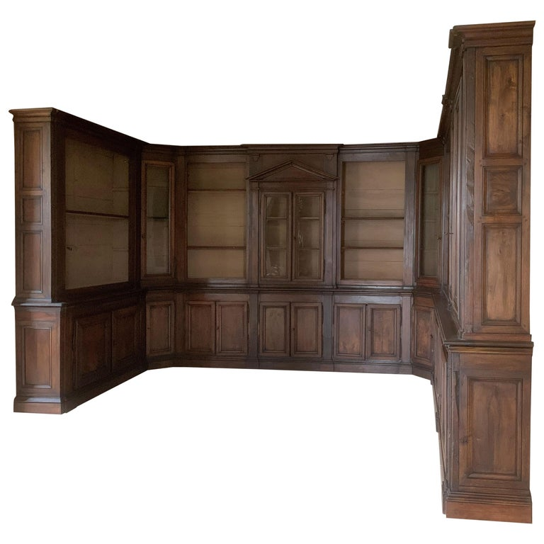 Italian Walnut 18th Century Library Bookcase Panneling For Sale