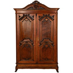 Italian Walnut 2-Door Armoire