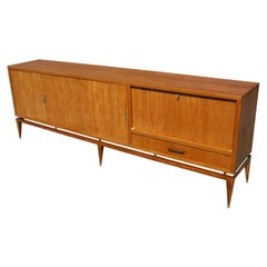 Italian Walnut and Brass Buffet Sideboard With Bar