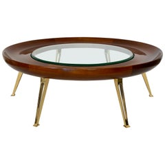 Italian Walnut and Brass Coffee Table Style of Gio Ponti