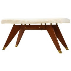 Italian Walnut and Brass Long Bench with Shaped Upholstered Seat