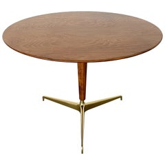 Italian Walnut and Brass Pedestal Table Attributed to Melchiorre Bega