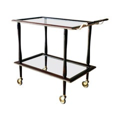 Italian Walnut and Brass Two-Tiered Barcart, 1960s
