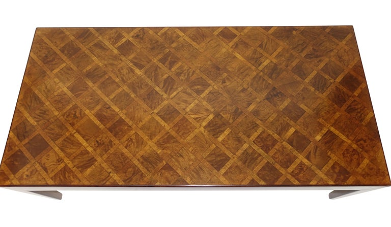 20th Century Italian Walnut and Burl Walnut Parquetry Coffee Table, circa 1960 For Sale