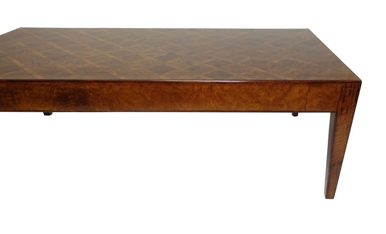 Italian Walnut and Burl Walnut Parquetry Coffee Table, circa 1960 For Sale 2