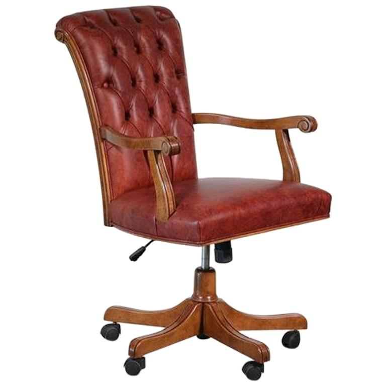 Italian Walnut And Calf Leather Designer Office Chair For