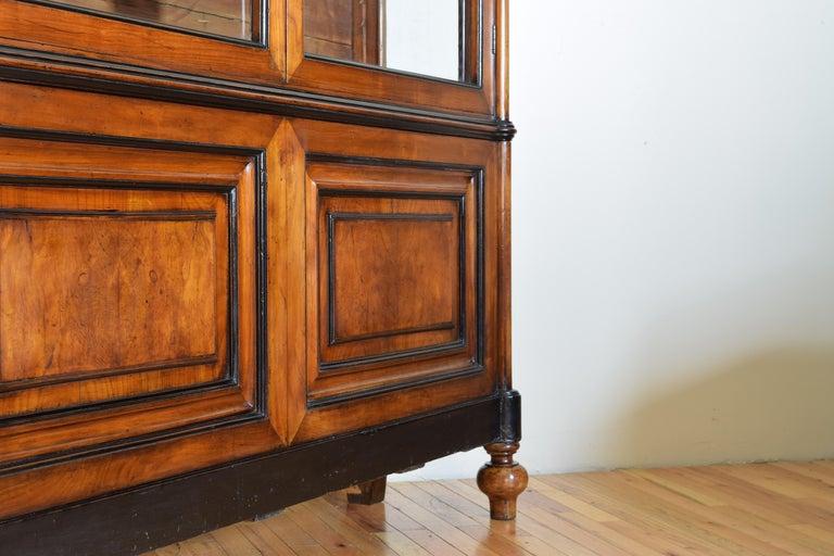 Italian Walnut and Ebonized Tall 2-Piece Bookcase Cabinet, Mid-19th Century For Sale 6