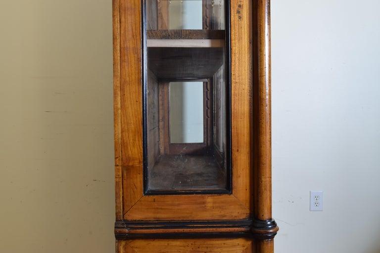 Italian Walnut and Ebonized Tall 2-Piece Bookcase Cabinet, Mid-19th Century For Sale 8
