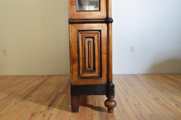 Italian Walnut and Ebonized Tall 2-Piece Bookcase Cabinet, Mid-19th Century For Sale 9