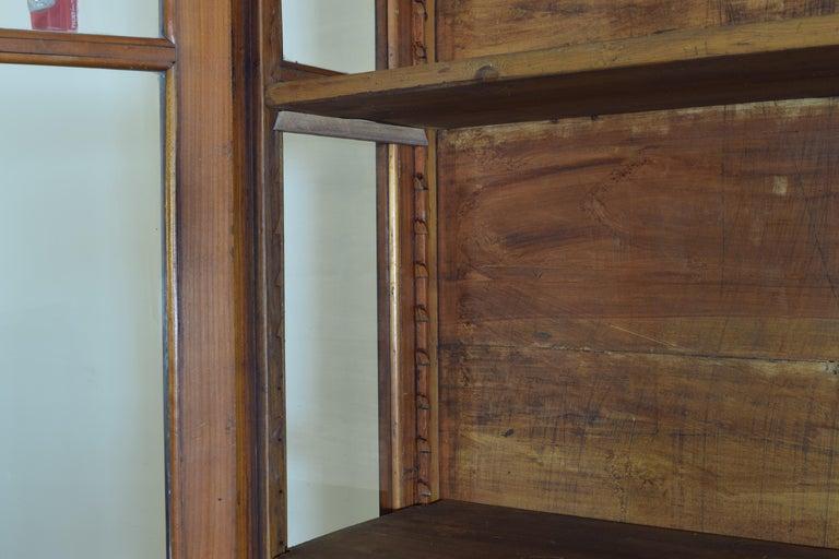 Italian Walnut and Ebonized Tall 2-Piece Bookcase Cabinet, Mid-19th Century For Sale 11