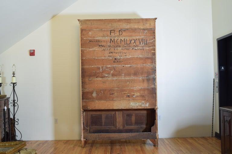 Italian Walnut and Ebonized Tall 2-Piece Bookcase Cabinet, Mid-19th Century For Sale 13