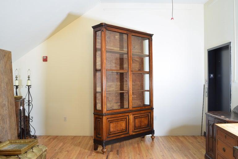 Victorian Italian Walnut and Ebonized Tall 2-Piece Bookcase Cabinet, Mid-19th Century For Sale