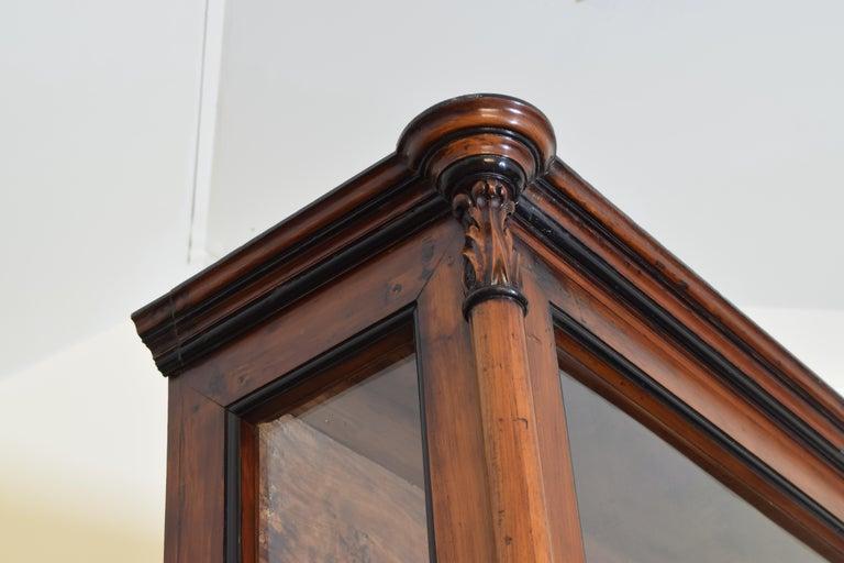 Italian Walnut and Ebonized Tall 2-Piece Bookcase Cabinet, Mid-19th Century For Sale 2