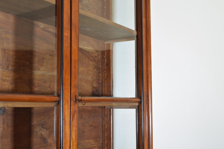 Italian Walnut and Ebonized Tall 2-Piece Bookcase Cabinet, Mid-19th Century For Sale 3