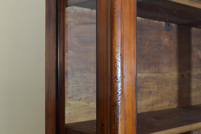 Italian Walnut and Ebonized Tall 2-Piece Bookcase Cabinet, Mid-19th Century For Sale 4