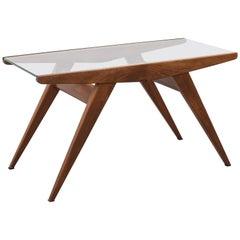 Italian Walnut and Glass Coffee Table, 1950s