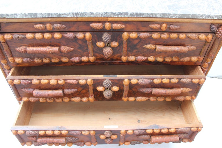 Italian Walnut and Pinecone Decorated Chest of Drawers with Marble Top 12