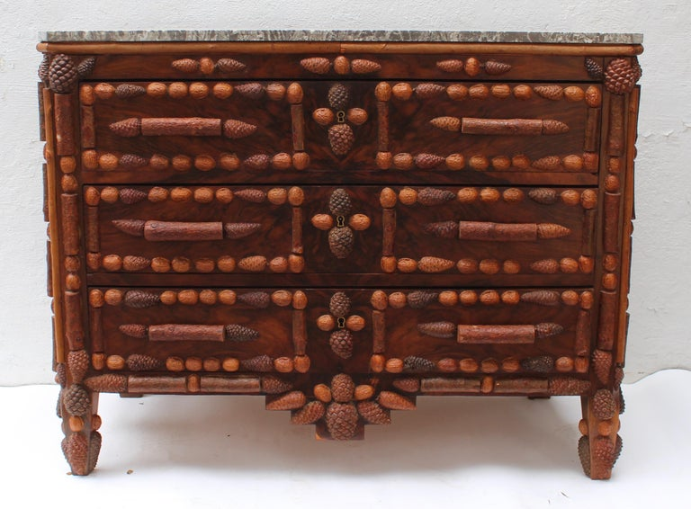 Italian Walnut and Pinecone Decorated Chest of Drawers with Marble Top 2
